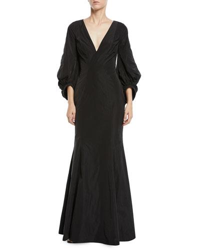 Olivia V-Neck Draped-Sleeve Gown