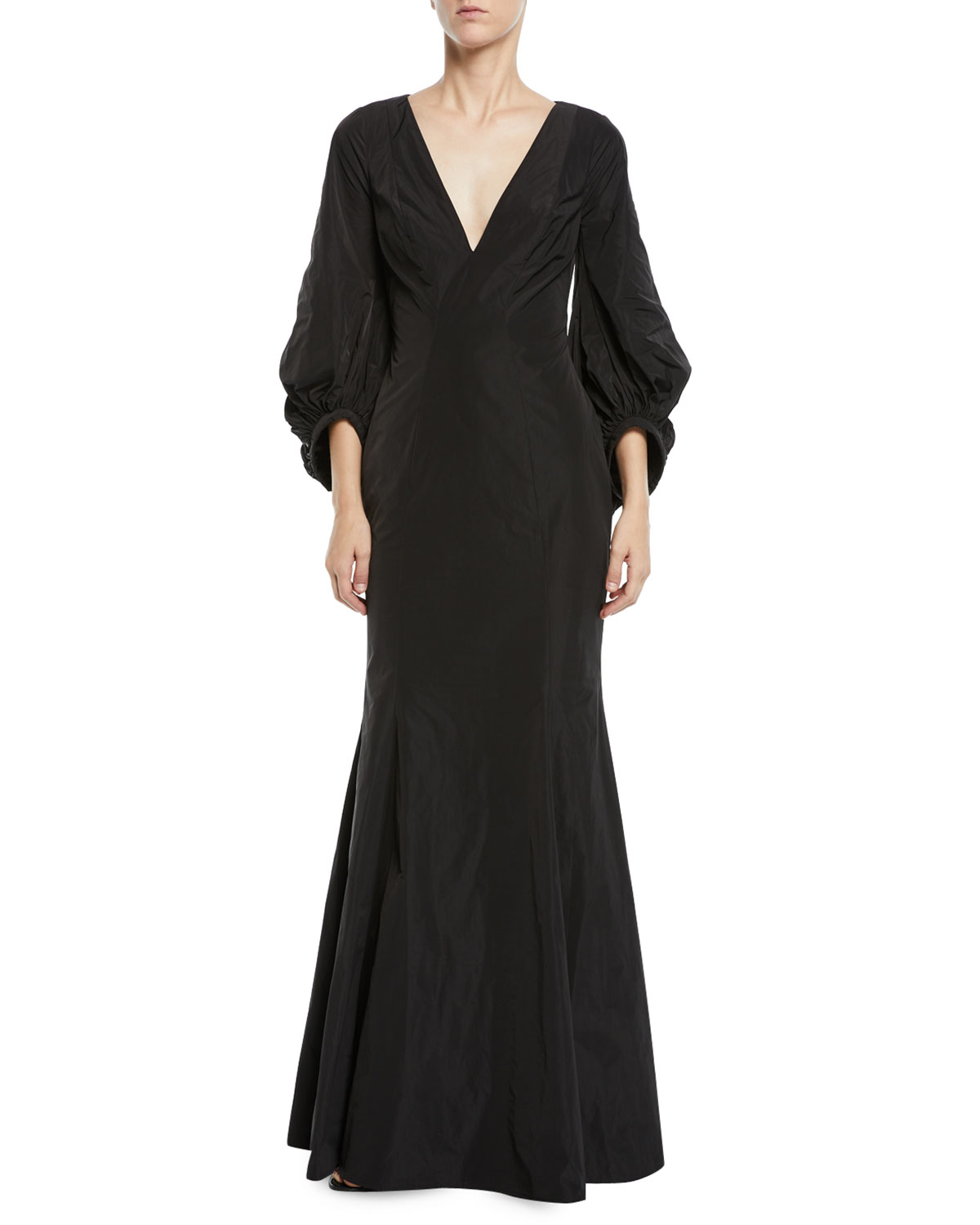 Olivia V-Neck Draped-Sleeve Gown