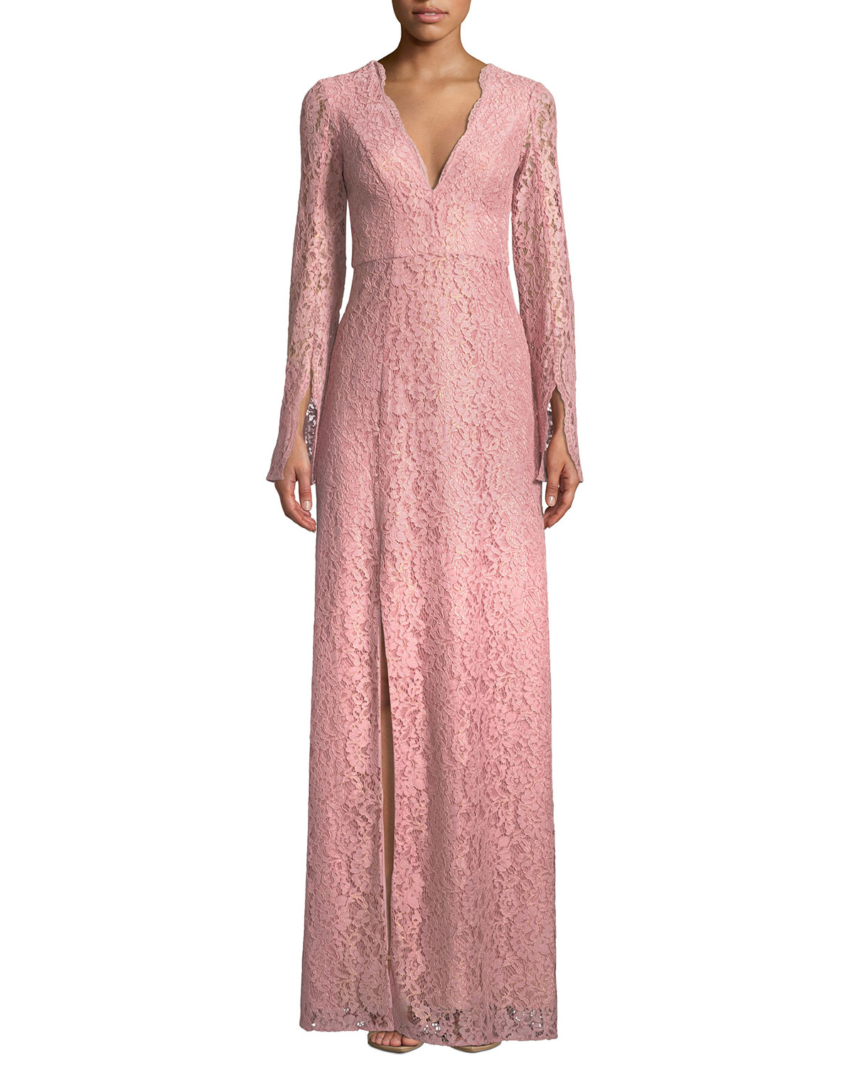 Viv Slit-Sleeve Lace Gown
