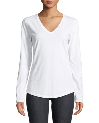 Deluxe Cotton Long-Sleeve V-Neck Tee