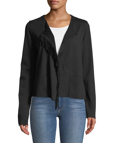 Merino Wool Open-Front Jacket with Suede Fringe