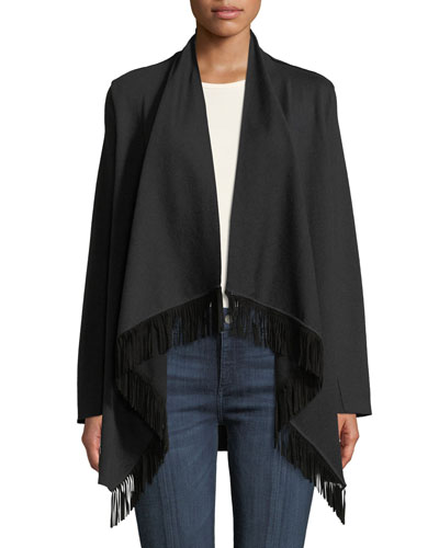 Long-Sleeve Waterfall Cardigan with Suede Fringe