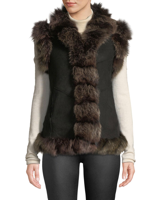 BELLE FARE Suede Fur-Trim Vest in Black