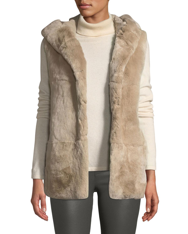 BELLE FARE Hooded Fur Vest in Camel