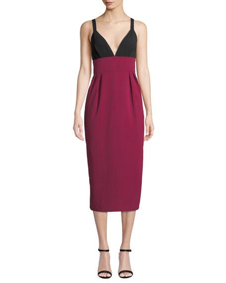 Jill Jill Stuart Two-Tone V-Neck Sleeveless Cocktail Dress