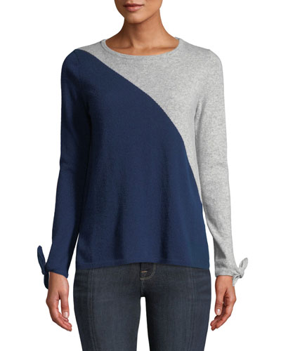 Cashmere Long-Sleeve Tie-Cuff Crewneck Colorblock Sweater