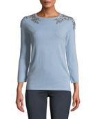 Neiman Marcus Cashmere Collection 3/4-Sleeve Embellished-Shoulder