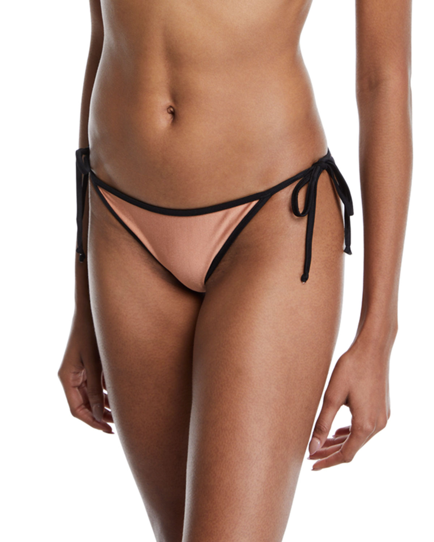 ÁGUA DE COCO Laser Neoclassico Side-Tie Bikini Bottoms in Pink