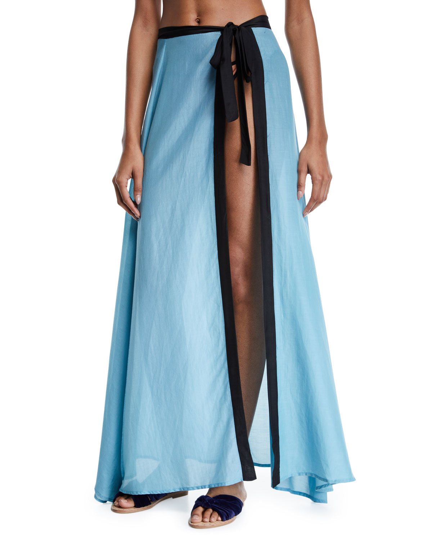 ÁGUA DE COCO Laser Neoclassico Tie-Front Long Skirt in Blue