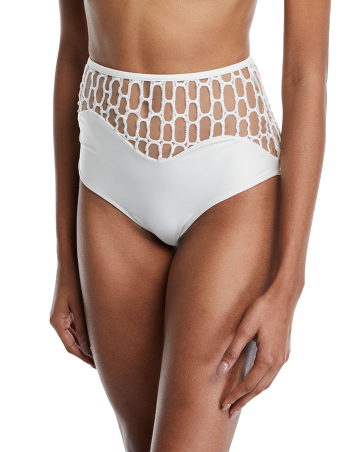 ÁGUA DE COCO Atlantica Mesh High-Waist Bikini Swim Bottoms in White