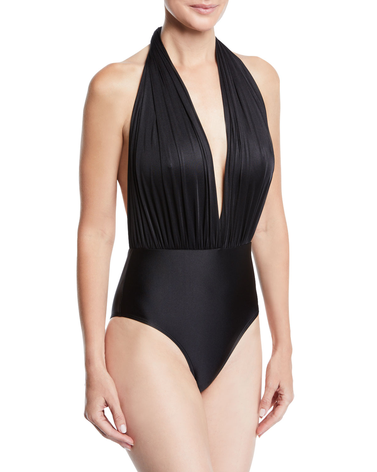 ÁGUA DE COCO Liso Halter Tie-Neck One-Piece Swimsuit in Black