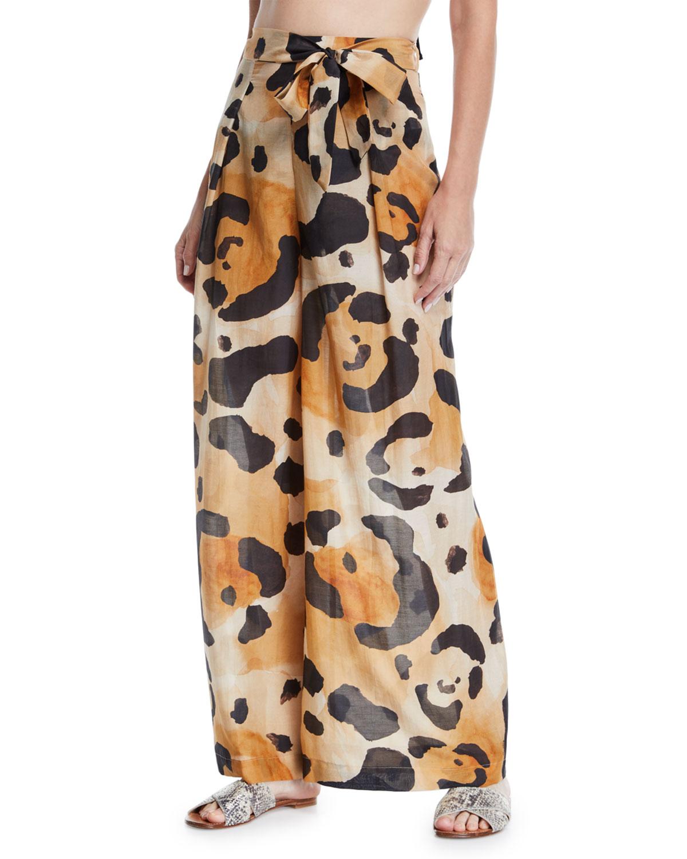 ÁGUA DE COCO Onca Leopard-Print Tie-Front Coverup Pants in Multi