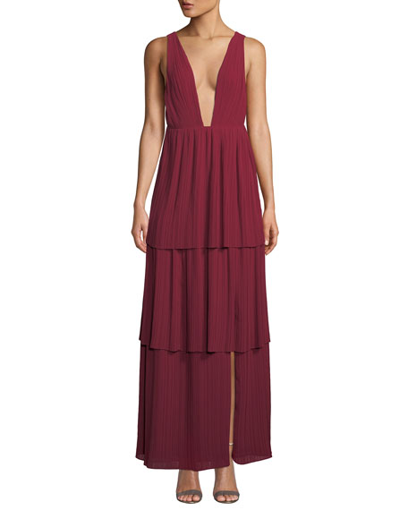 Fame and Partners The Callie Plunging-Neck Tiered Gown