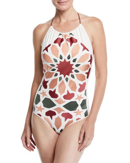 Agua de Coco Mosaico Printed Halter One-Piece Swimsuit