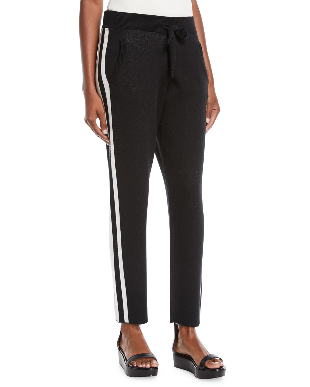 Cashmere-Blend Jogger Sweatpants W/ Racer Stripes in Black/ Chalk