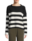 ATM Anthony Thomas Melillo Striped Chenille Boat-Neck Sweater