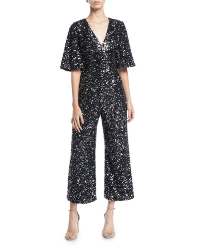 b658cdfd2a23 Quick Look. Black Halo · V-Neck Short-Sleeve Sequin Jumpsuit