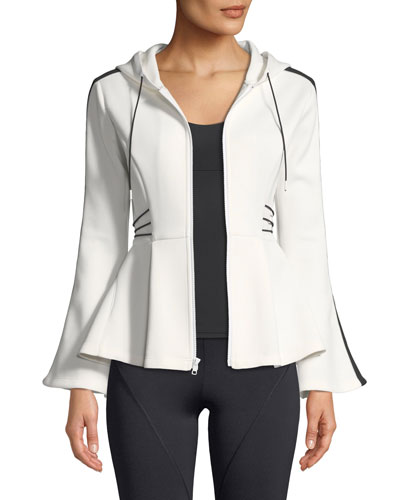 Hooded Flare-Sleeve Peplum Jacket with Contrast Cording