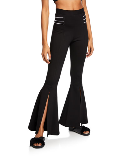 High-Waist Front-Slit Flare Pants