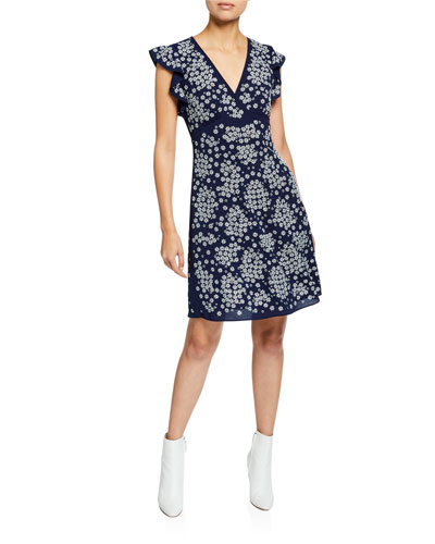V-Neck Cap-Sleeve Floral-Embroidered A-Line Dress