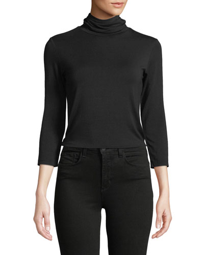 977944908bb4a0 Black Fitted Turtleneck Top