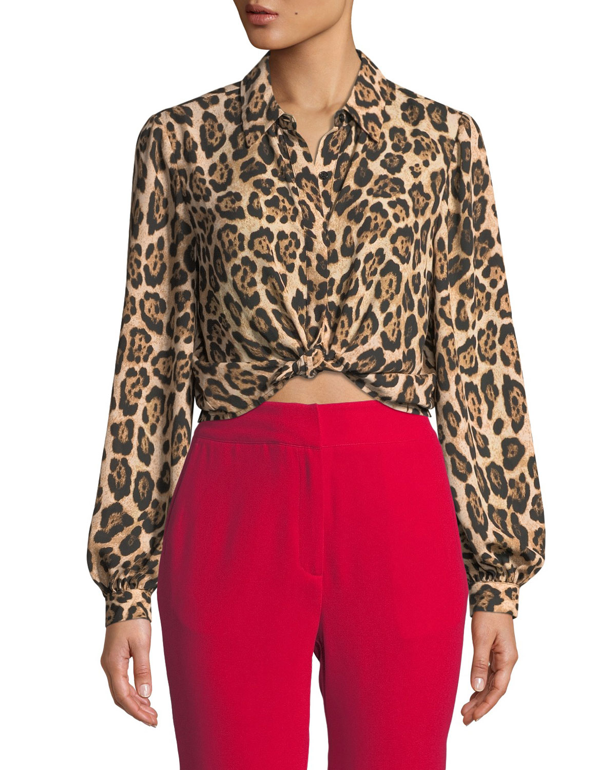 MARLED BY REUNITED Button-Down Leopard-Print Cropped Blouse
