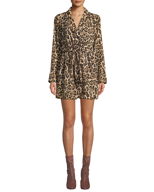 MARLED BY REUNITED Leopard-Print Long-Sleeve Mini Shirtdress