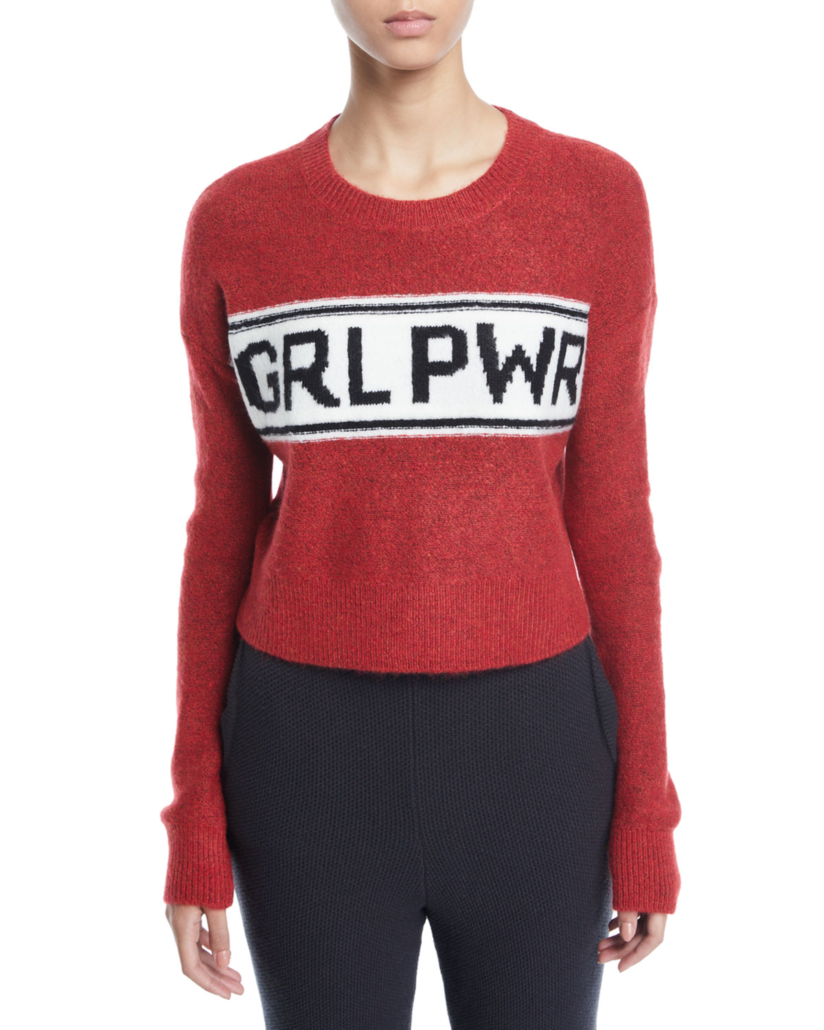 MARLED BY REUNITED Grl Pwr Destroyed Cropped Pullover Sweater in Red