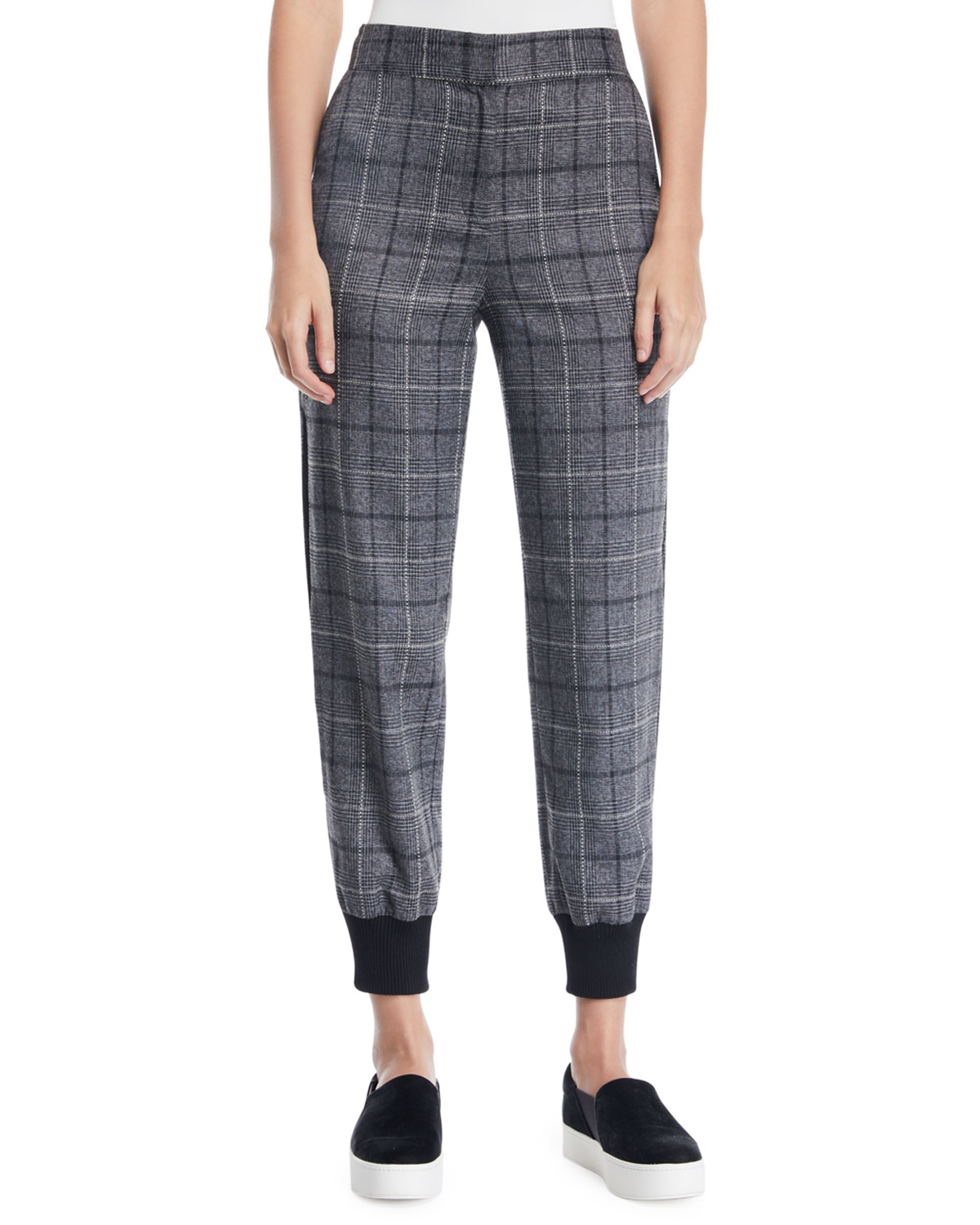 MARLED BY REUNITED Plaid Split-Leg Jogger Pants in Gray