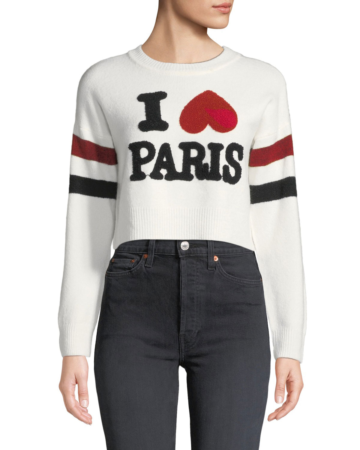 MARLED BY REUNITED I Love Paris Cropped Graphic Crewneck Sweater in Ivory