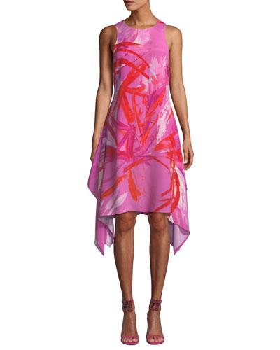Prism Sleeveless Abstract-Print Dress w/ Handkerchief Hem