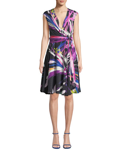 Prism V-Neck Abstract-Print A-Line Dress w/ Knot Detail
