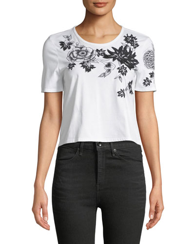 Short-Sleeve 3D Floral-Embroidered Cropped T-Shirt