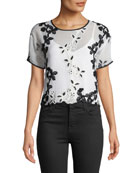 Josie Natori Short-Sleeve Cropped Embroidered Tee with Solid