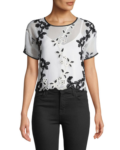 Short-Sleeve Cropped Embroidered Tee with Solid Cami