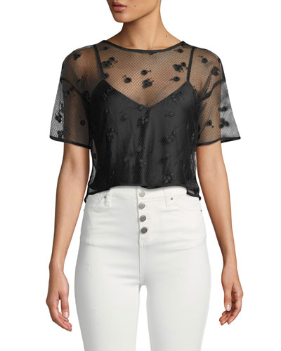 Short-Sleeve Embroidered Mesh Top with Cami