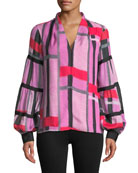 Josie Natori V-Neck Long-Sleeve Patterned Voile Top w/