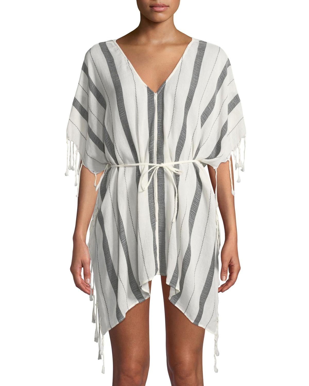 Naka Striped Fringe Coverup Short Tunic, White Pattern