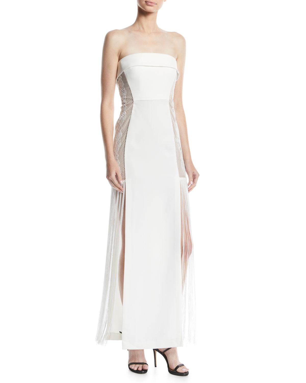 AIJEK Odette Strapless Dress W/ Lace Inserts in White
