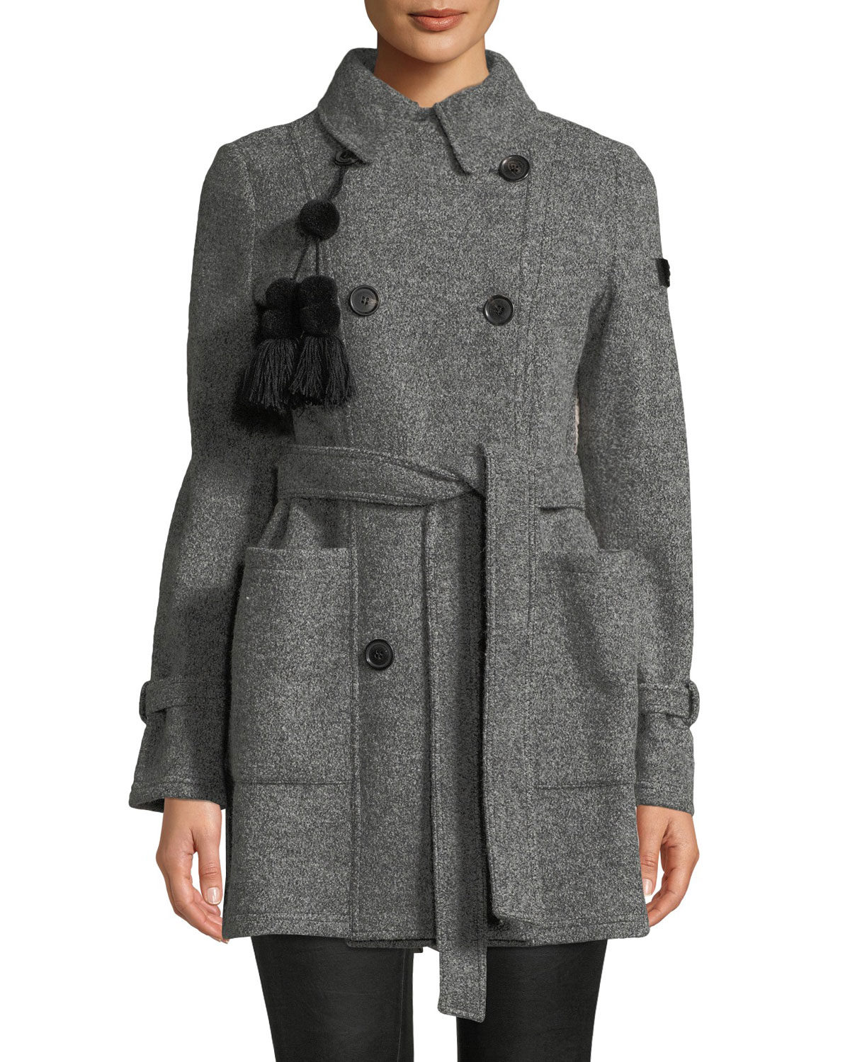PEUTEREY Nahiossi Wool Coat W/ Quilted Back in Gray