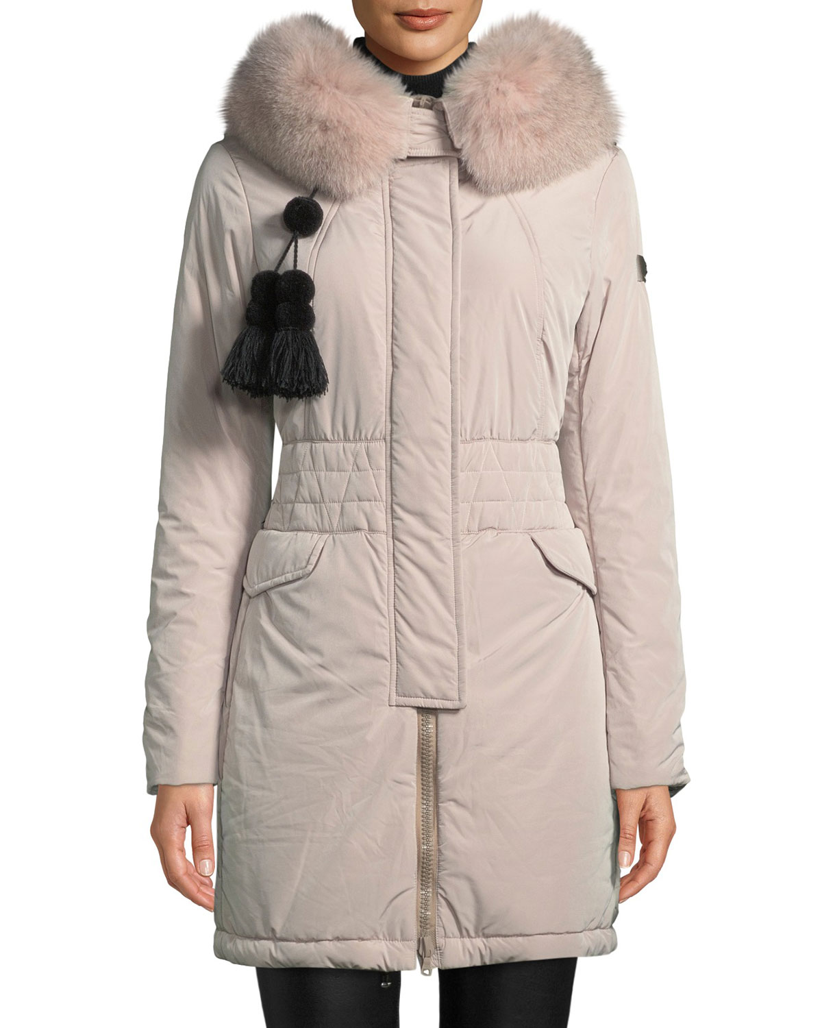 PEUTEREY Aponi Hooded Parka Coat W/ Detachable Fur in Gray