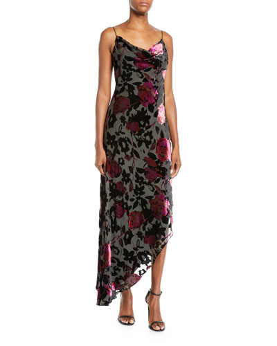 Cowl-Neck Burnout Floral Velvet Dress
