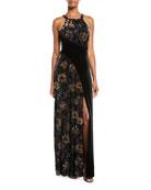Aidan by Aidan Mattox Floral Velvet Halter Gown