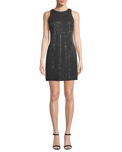 Sequin & Bead Halter Mini Dress
