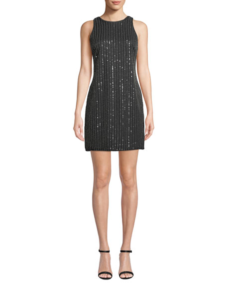 Aidan by Aidan Mattox Sequin & Bead Halter Mini Dress