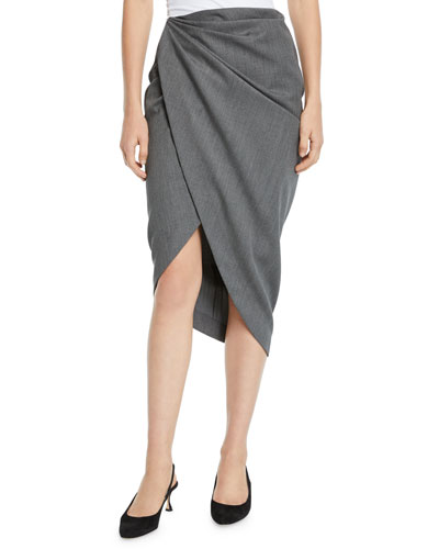 Draped Wool High-Low Pencil Skirt