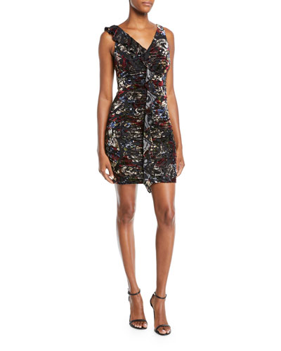 8b668a8849 Quick Look. Aidan by Aidan Mattox · V-Neck Floral Burnout Velvet Ruched  Dress