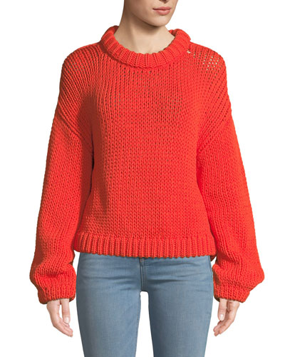 Tube Yarn Cropped Pullover Sweater