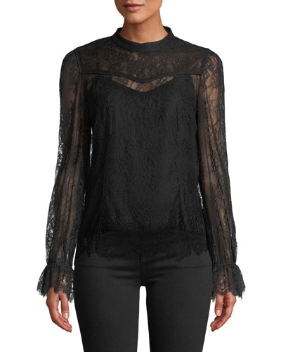 2e4a8cb9d8091 Long Sleeves Black Lace Top