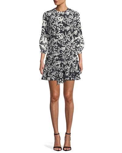 68df10589e95 Black White Printed Dress | Neiman Marcus